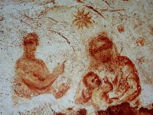 La più antica raffigurazione della Natività, catacombe di Priscilla (Roma II-IV sec.).