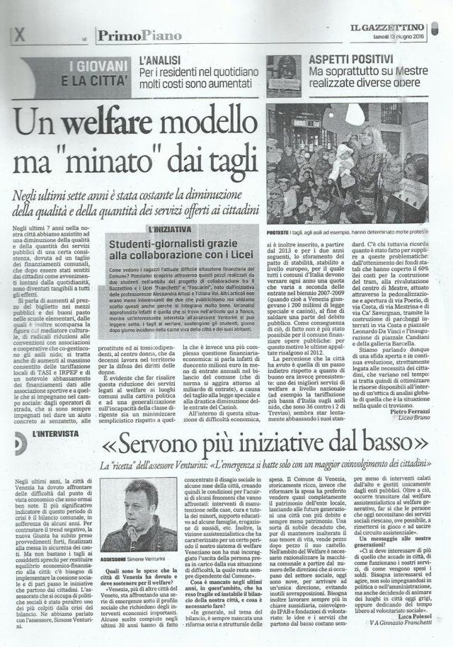 Il Gazzettino di Venezia Lunedì 13/06/2016