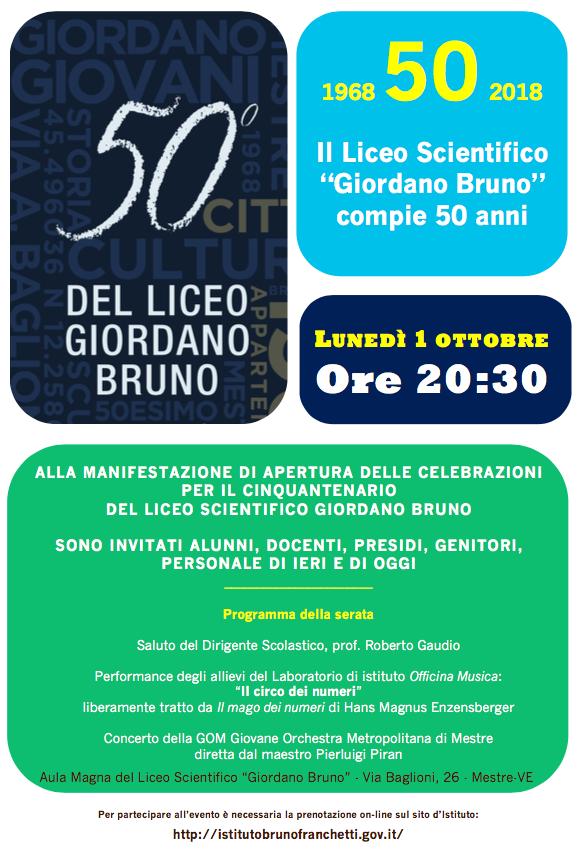 1968-2018 CINQUANT'ANNI DI LICEO BRUNO