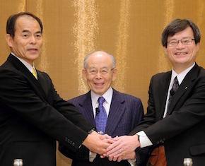 Da sinistra: Shuji Nakamura, Isamu Akasaki, Hiroshi Amano.