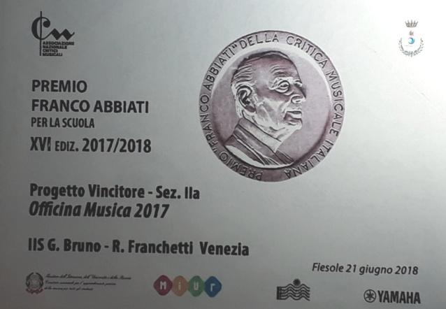 """PREMIO ABBIATI DELLA CRITICA MUSICALE ITALIANA AL PROGETTO """"OFFICINA MUSICA"""""""